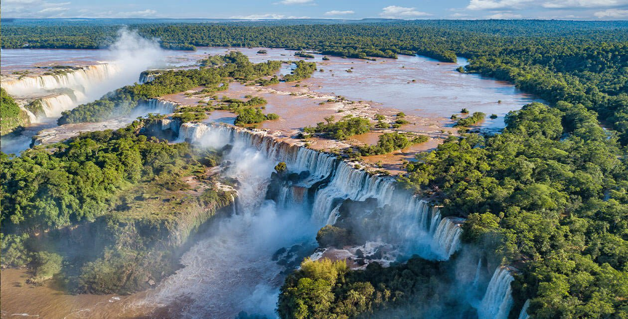 Aerial view over beautiful Iguazu Falls