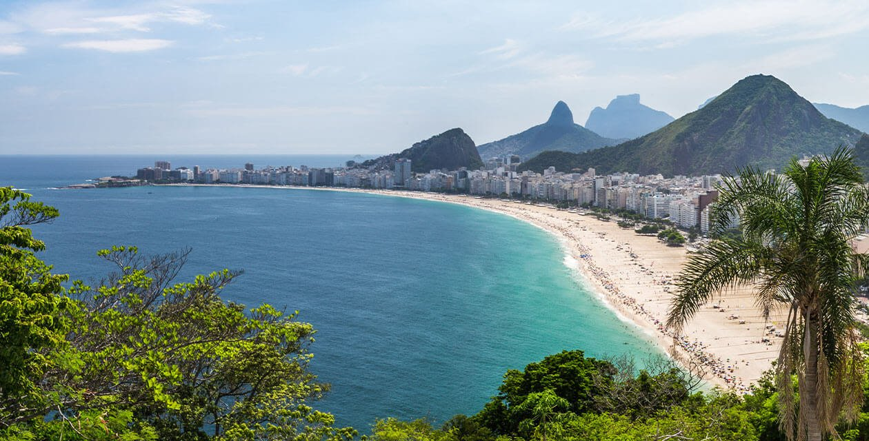 high-up viewpoint over copacabana