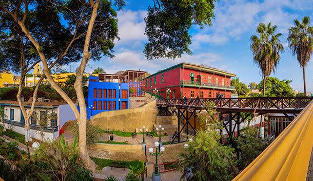 bridge and buildings in barranco neighborhood of lima peru