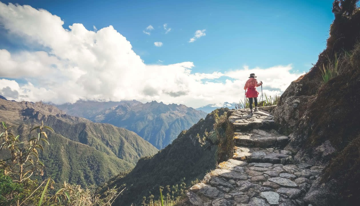 woman hiking inca trail