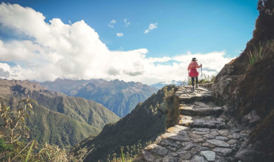 woman hiking inca trail