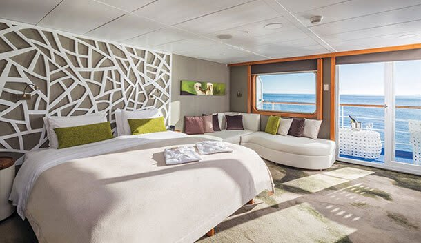 the balcony suite on the legend cruise ship