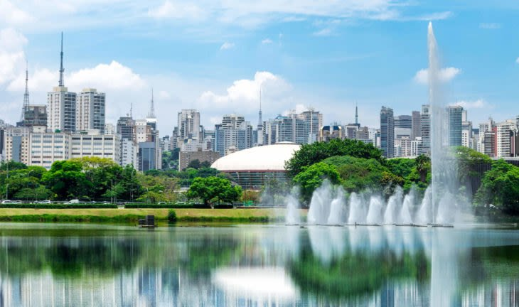 scenic park in Sao Paulo with city behind