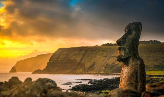 Easter Island Moai Head at sunset