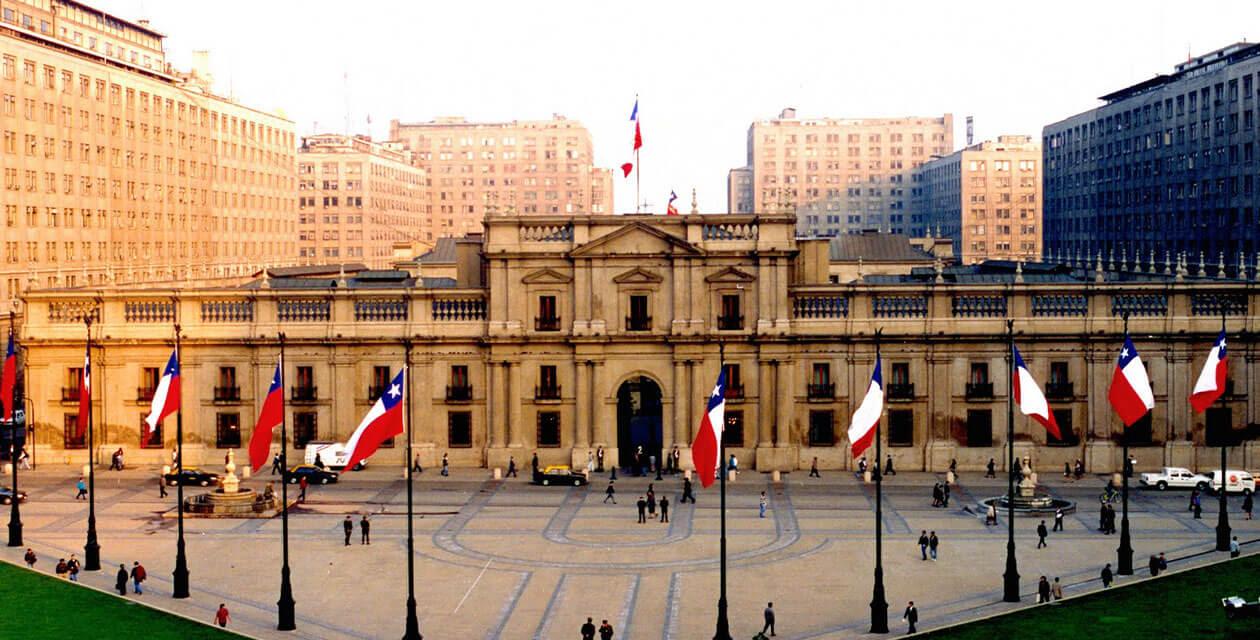 La Moneda Palace amidst city