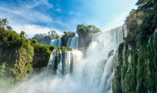 View of Iguazu Falls from base