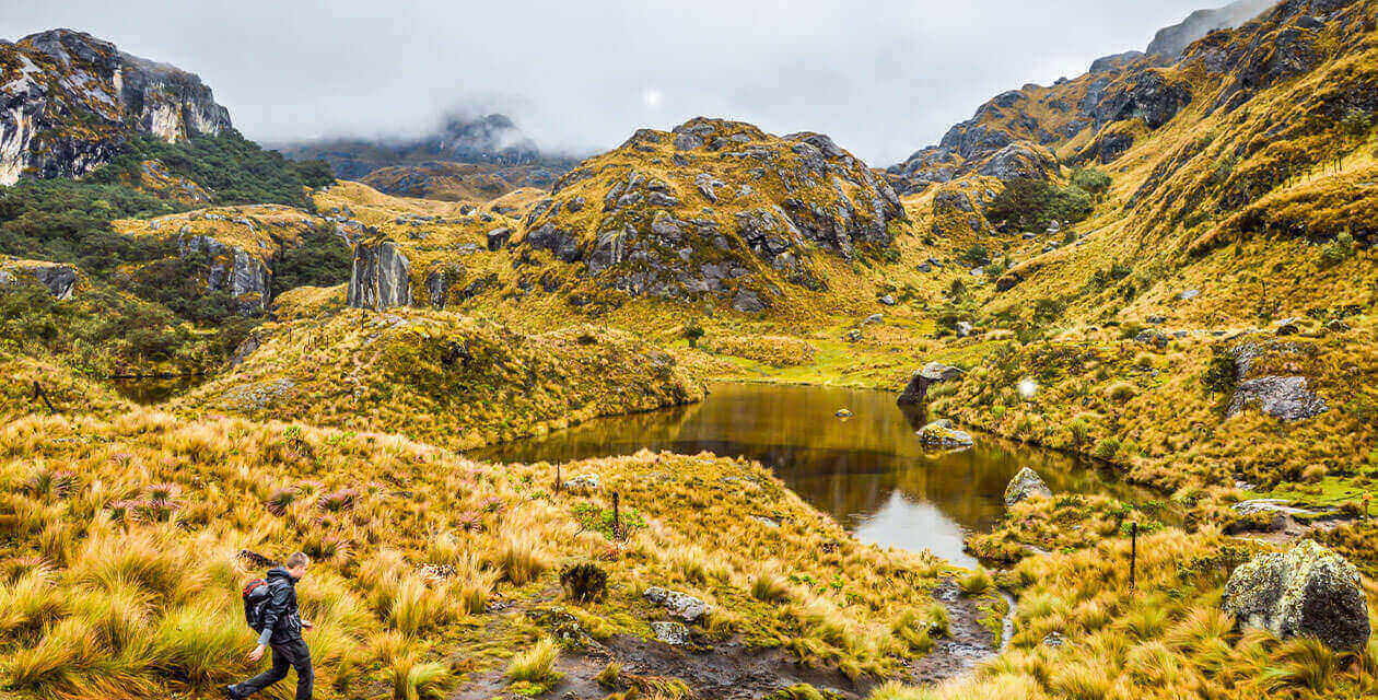 Cajas national park and hiker