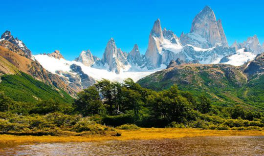 beautiful view of fitz roy mountain and quaint lake