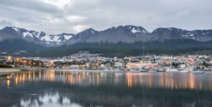 Ushuaia town from distance with backdrop of mountains
