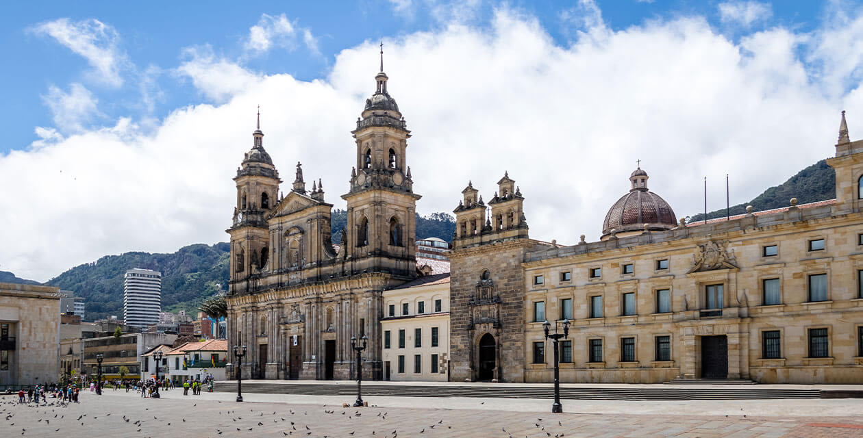 View of Bogota's main plaza and historic cathedral