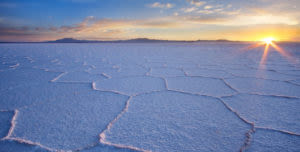 Uyuni Salt Flat at sunset