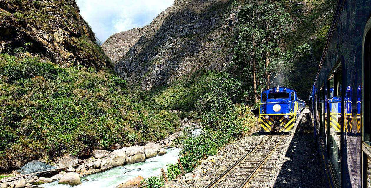 Curtiba express train passing river in mountains