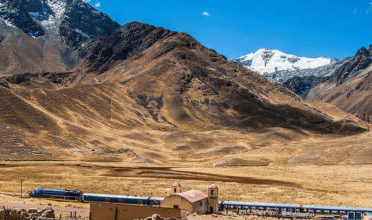train station amidst the andes