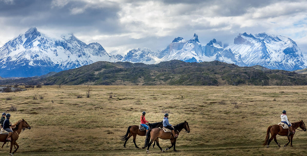 People on horse riding tour of Torres Del Paine