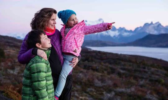 Family sightseeing outside in Patagonia
