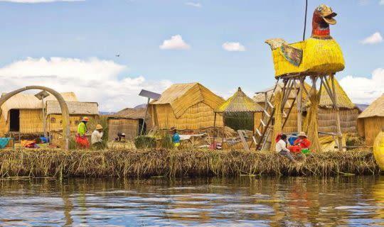 Lake Titicaca boats and huts