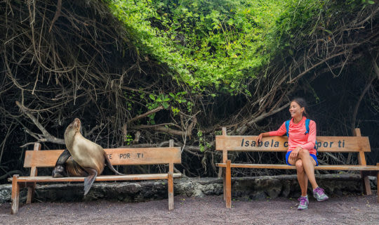 girl with sea lion in the galapagos