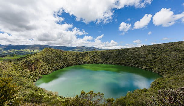 pretty blue lagoon outside of bogota colombia