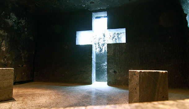 glowing cross in zipaquira cathedral