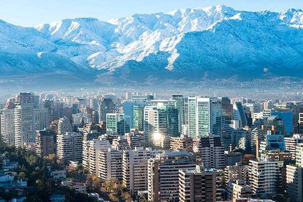 City and Andes Mountains in Santiago, Chile