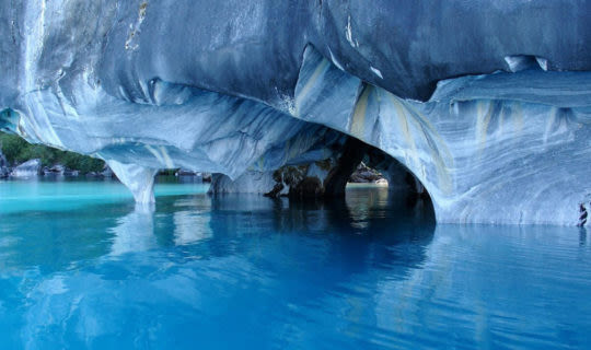 beautiful marble caves under water in patagonia