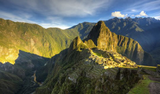 Machu Picchu citadel under sunrise