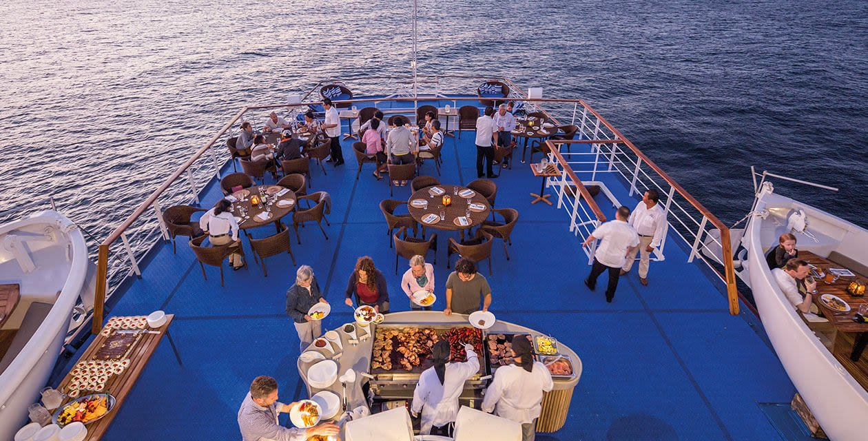 cruise guests having dinner