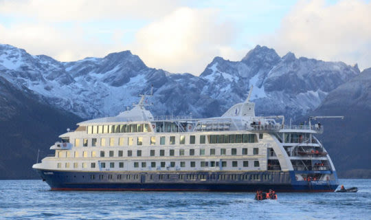 Australis cruise ship in Patagonia