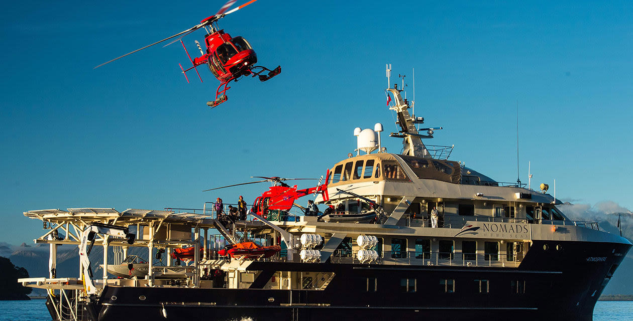 helicopter ready for landing on Antarctica cruise