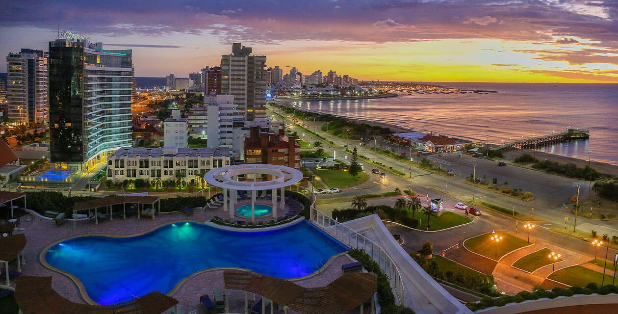 aerial over punta and waterfront during sunset