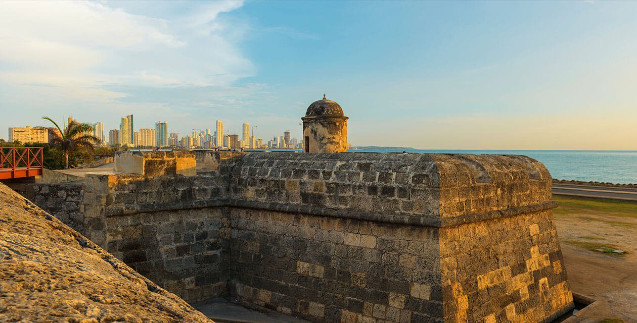 View of colonial fort and city in background in Cartagena