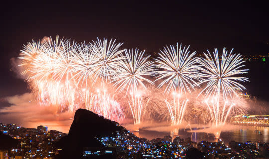 Grand firework display over bay in Rio