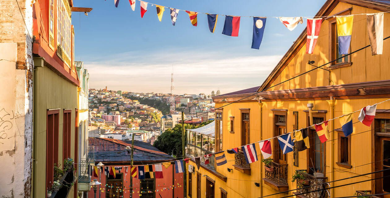 scenic city street and balconies in valpo