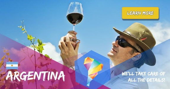 A man inspects a glass of wine for his south america wine tour