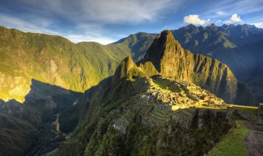 Landscape of Machu Picchu at sunset