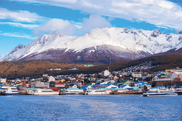 Landscape of Ushuaia and City Port