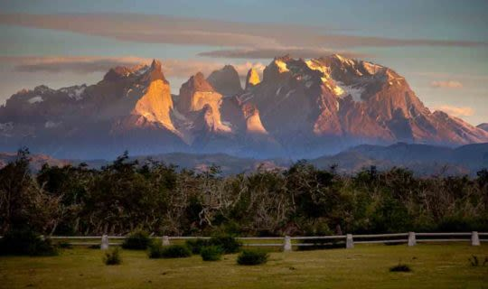 Farm and mountains of Patagonia