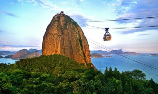 Sugarloaf Mountain and cablecar in Brazil