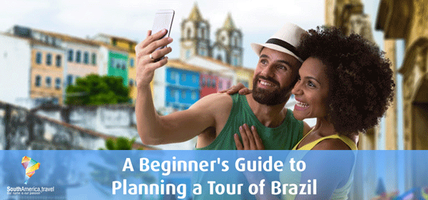 Couple taking a selfie on a tour of Brazil