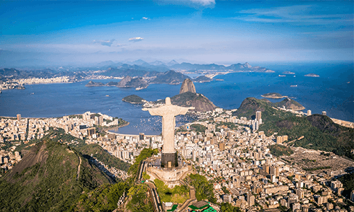 Birds-eye-view of Rio in Brazil