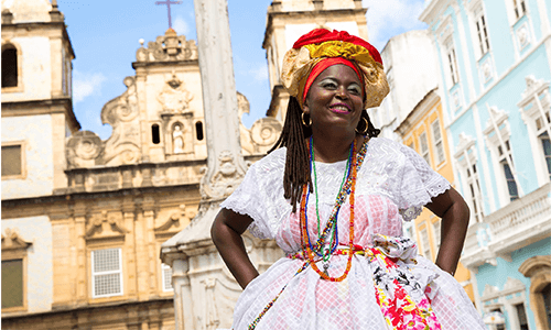 Woman in traditional Brazilian attire in Salvador da Bahia