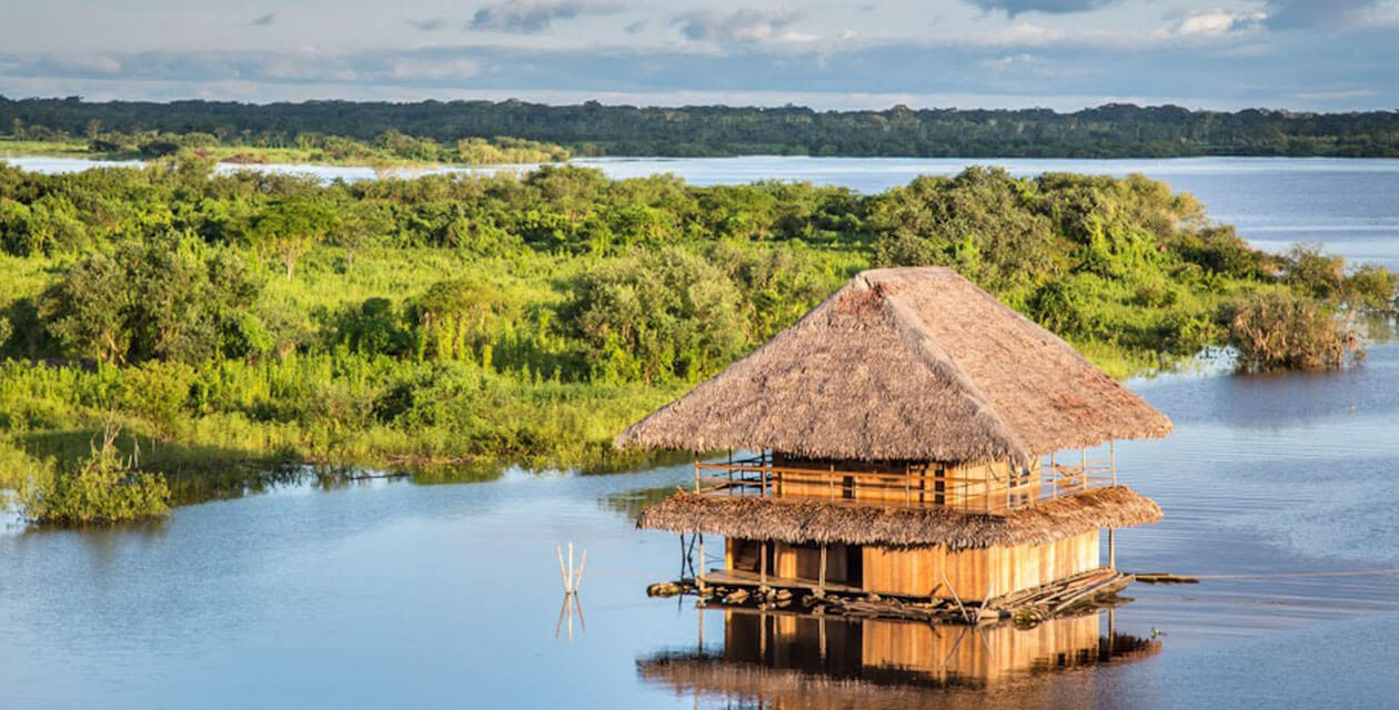 hut in the peruvian amazon rainforest