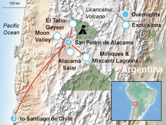 Atacama Desert and Santiago Itinerary Map