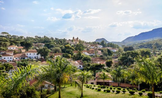 Aerial view over town center of Tiradentes and surrounding hills