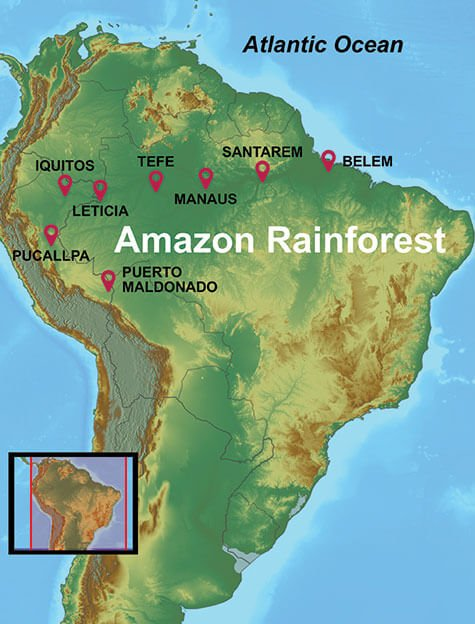 map of our amazon rainforest tours