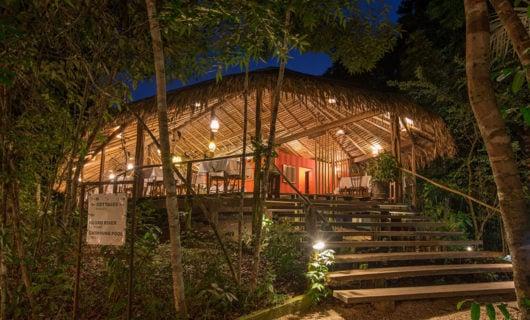 Luxury Anavilhanas Lodge at night