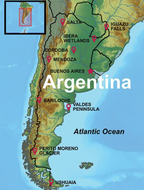 map of cities and destinations on an Argentina tour
