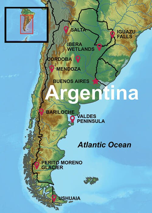 Map of South America, Benenos Aires Tours are in North Central Argentina