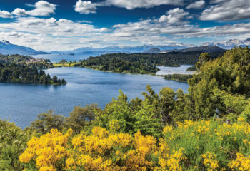 View of the foliage and lakes in San Carlos de Bariloche Argentina