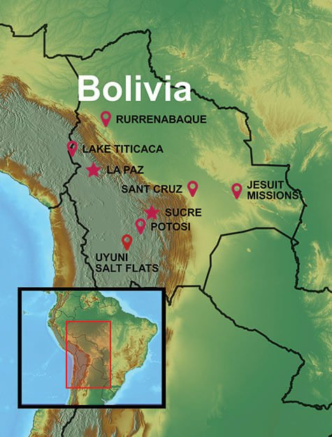 Map of our Bolivia Vacations and Tours